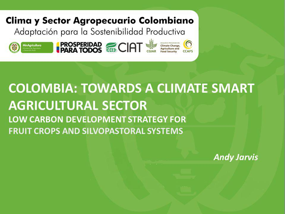 COLOMBIA: TOWARDS A CLIMATE SMART AGRICULTURAL SECTOR LOW CARBON DEVELOPMENT STRATEGY FOR FRUIT CROPS AND SILVOPASTORAL SYSTEMS Andy Jarvis