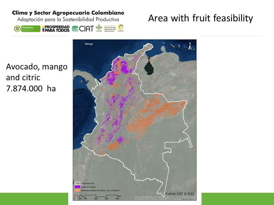 Area with fruit feasibility Avocado, mango and citric 7.874.000 ha Fuente: CIAT & IGAC