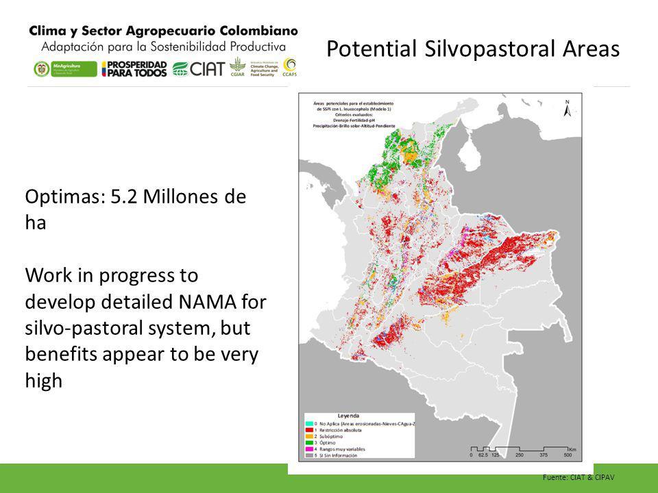 Potential Silvopastoral Areas Fuente: CIAT & CIPAV Optimas: 5.2 Millones de ha Work in progress to develop detailed NAMA for silvo-pastoral system, bu