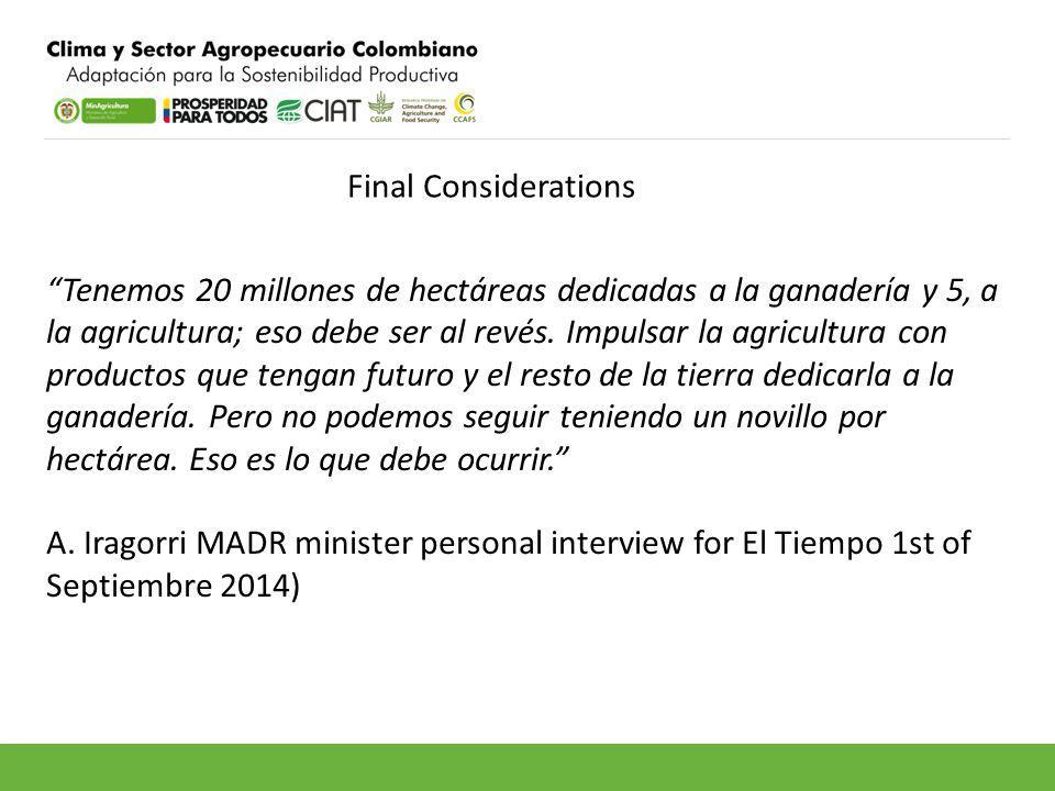 Final Considerations Tenemos 20 millones de hectáreas dedicadas a la ganadería y 5, a la agricultura; eso debe ser al revés.