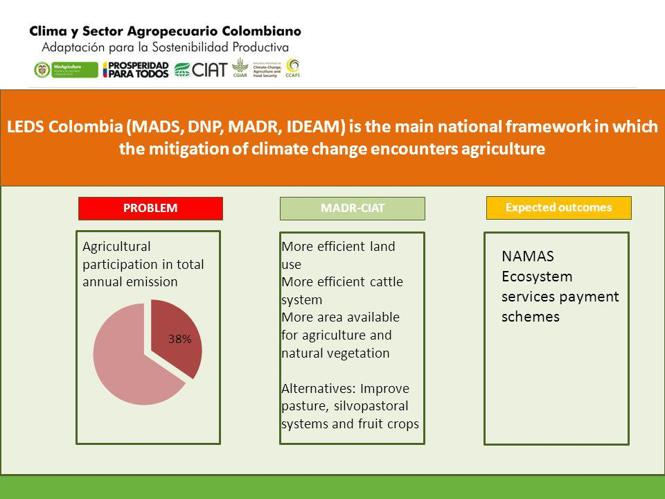 LEDS Colombia (MADS, DNP, MADR, IDEAM) is the main national framework in which the mitigation of climate change encounters agriculture PROBLEM Agricul