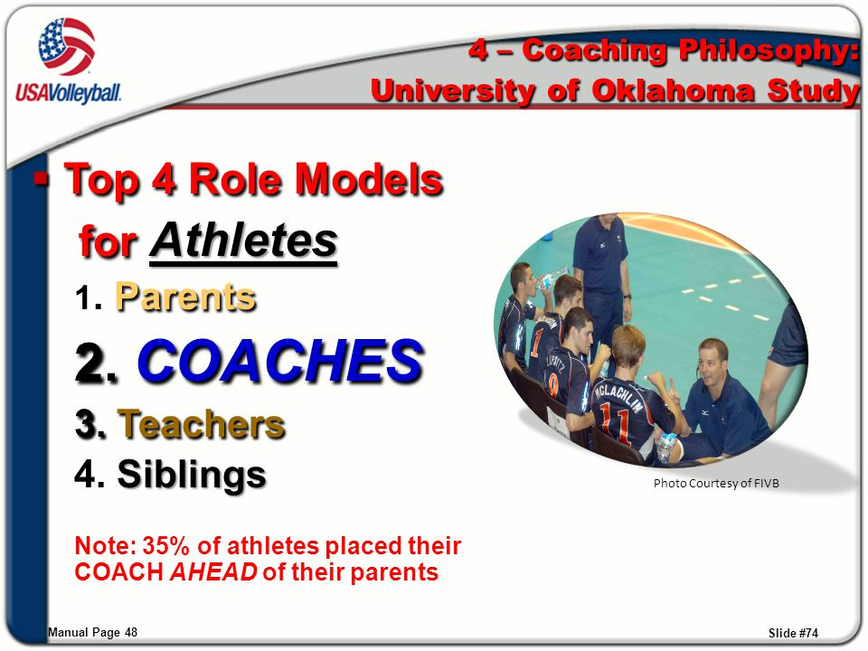 Slide #74  Top 4 Role Models for Athletes for Athletes 1. Parents 2. COACHES 3. Teachers 4. Siblings Note: 35% of athletes placed their COACH AHEAD o