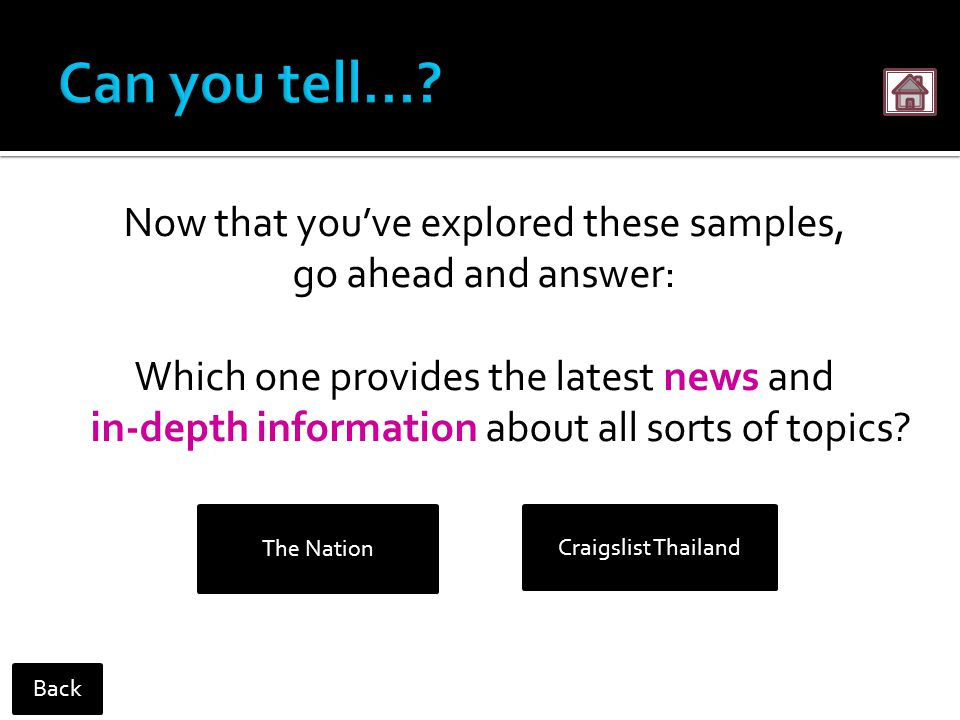 Now that you've explored these samples, go ahead and answer: Which one provides the latest news and in-depth information about all sorts of topics.