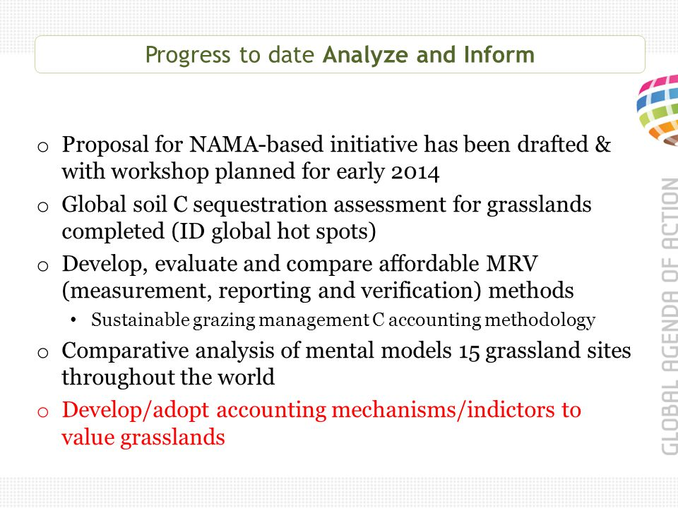 Progress to date Analyze and Inform o Proposal for NAMA-based initiative has been drafted & with workshop planned for early 2014 o Global soil C sequestration assessment for grasslands completed (ID global hot spots) o Develop, evaluate and compare affordable MRV (measurement, reporting and verification) methods Sustainable grazing management C accounting methodology o Comparative analysis of mental models 15 grassland sites throughout the world o Develop/adopt accounting mechanisms/indictors to value grasslands