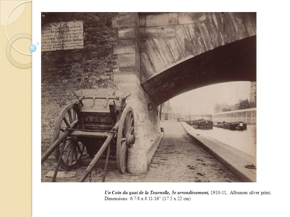 Un Coin du quai de la Tournelle, 5e arrondissement, 1910-11, Albumen silver print, Dimensions: 6 7/8 x 8 11/16 (17.5 x 22 cm)