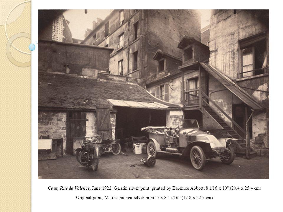 Cour, Rue de Valence, June 1922, Gelatin silver print, printed by Berenice Abbott, 8 1/16 x 10 (20.4 x 25.4 cm) Original print, Matte albumen silver print, 7 x 8 15/16 (17.8 x 22.7 cm)
