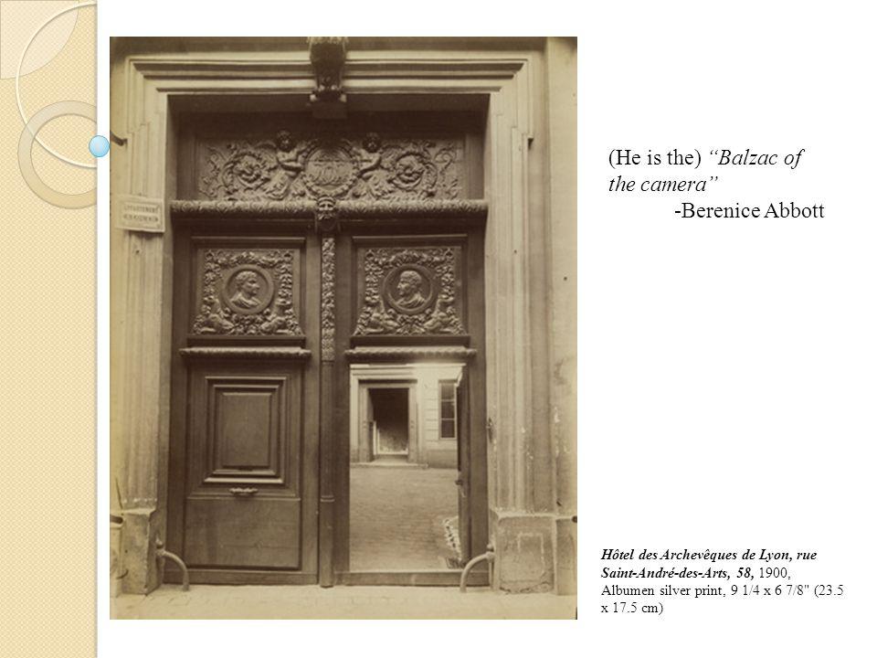 Hôtel des Archevêques de Lyon, rue Saint-André-des-Arts, 58, 1900, Albumen silver print, 9 1/4 x 6 7/8 (23.5 x 17.5 cm) (He is the) Balzac of the camera -Berenice Abbott