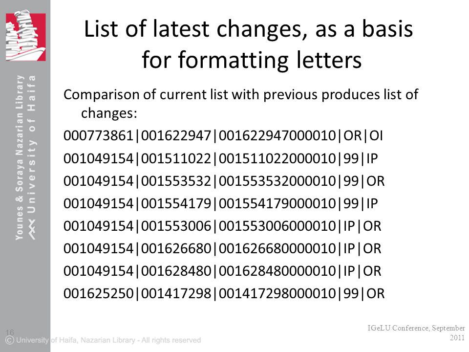 List of latest changes, as a basis for formatting letters Comparison of current list with previous produces list of changes: 000773861|001622947|001622947000010|OR|OI 001049154|001511022|001511022000010|99|IP 001049154|001553532|001553532000010|99|OR 001049154|001554179|001554179000010|99|IP 001049154|001553006|001553006000010|IP|OR 001049154|001626680|001626680000010|IP|OR 001049154|001628480|001628480000010|IP|OR 001625250|001417298|001417298000010|99|OR IGeLU Conference, September 2011 16