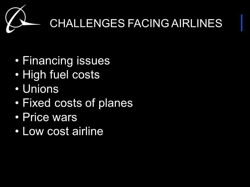 CHALLENGES FACING AIRLINES Financing issues High fuel costs Unions Fixed costs of planes Price wars Low cost airline