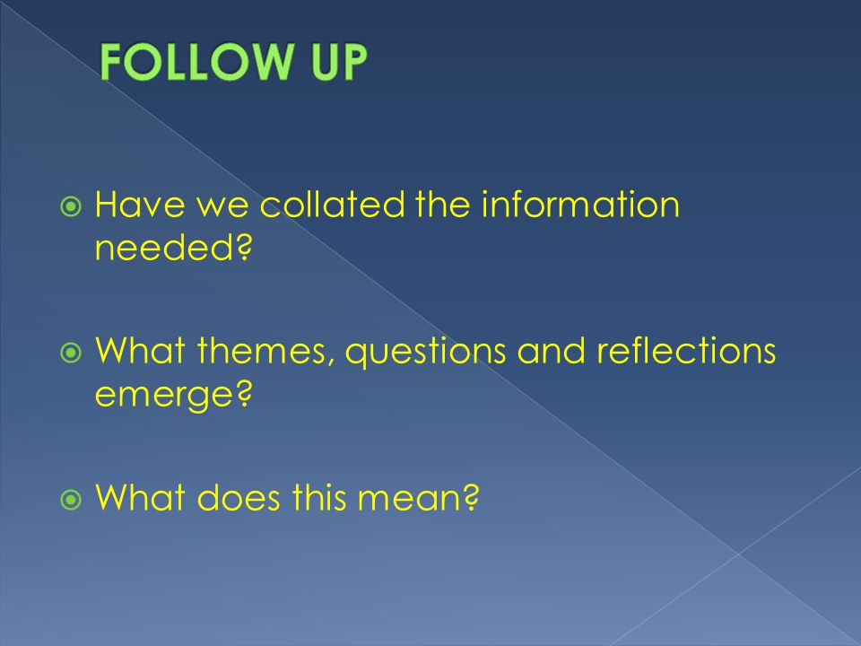  Have we collated the information needed. What themes, questions and reflections emerge.