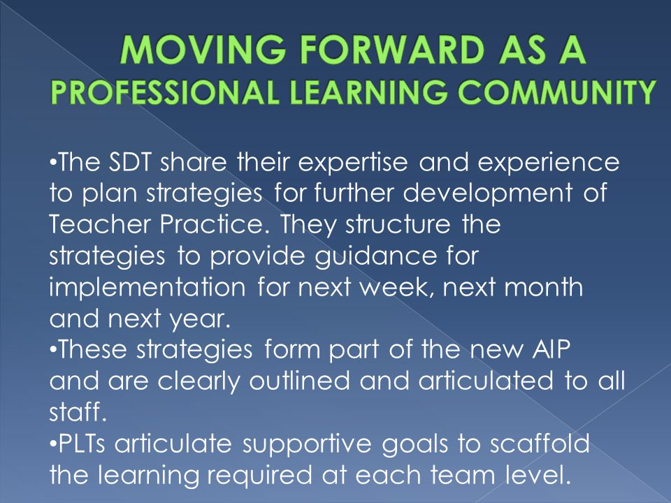 The SDT share their expertise and experience to plan strategies for further development of Teacher Practice.