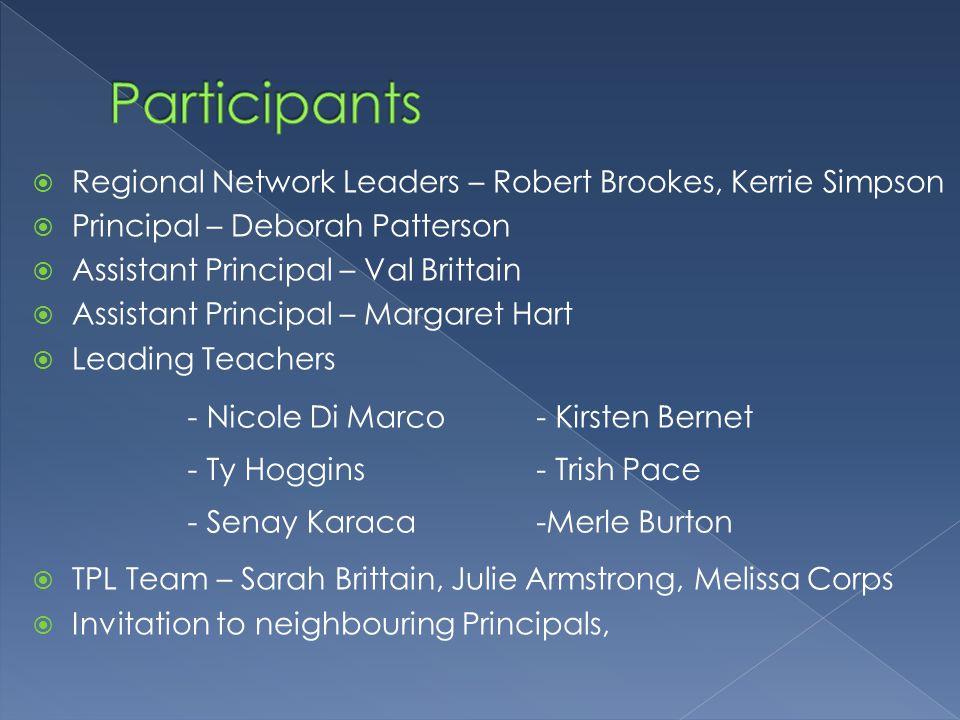  Regional Network Leaders – Robert Brookes, Kerrie Simpson  Principal – Deborah Patterson  Assistant Principal – Val Brittain  Assistant Principal