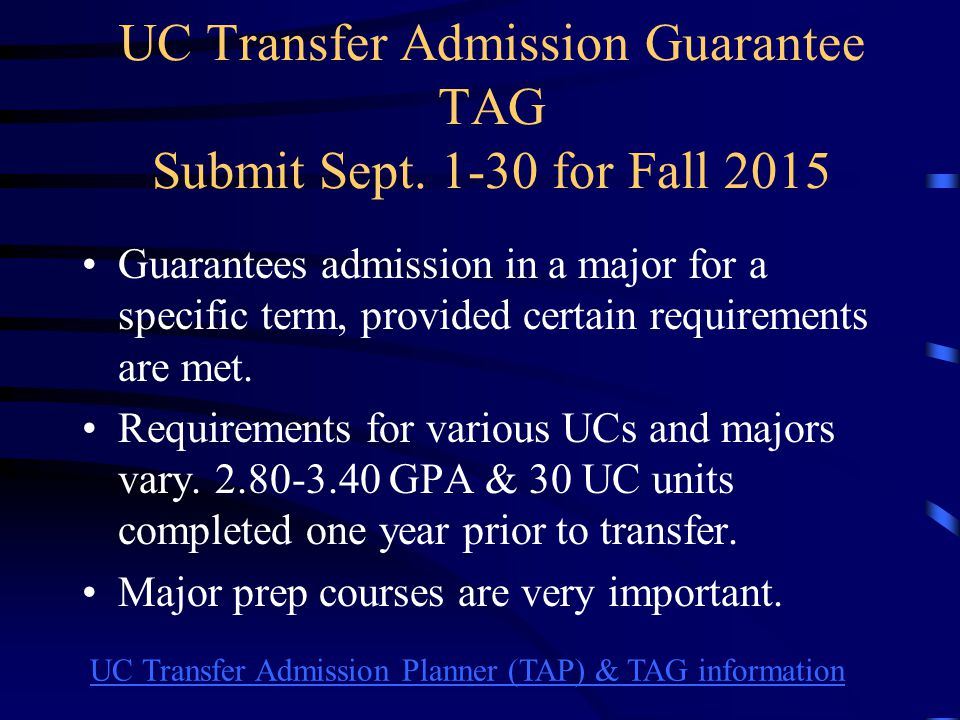 UC Transfer Admission Web Page