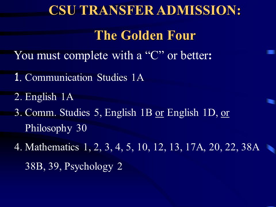 1.Communication Studies 1A 2. English 1A 3. Comm.