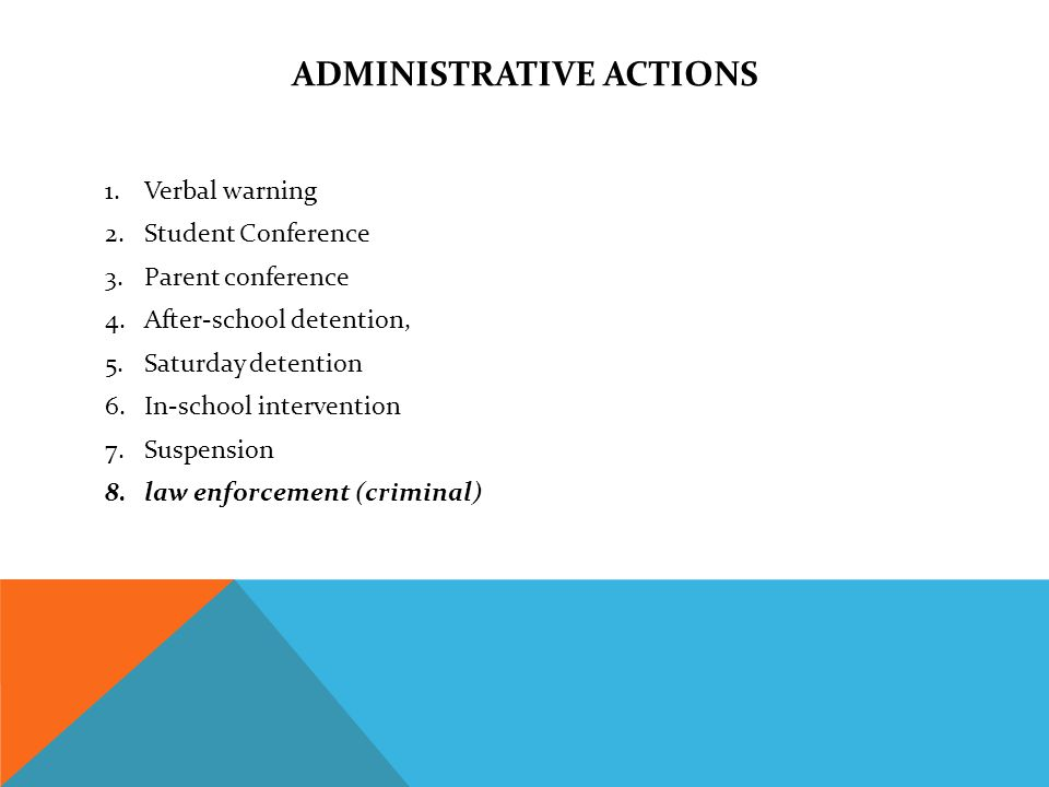 ADMINISTRATIVE ACTIONS 1.Verbal warning 2.Student Conference 3.Parent conference 4.After-school detention, 5.Saturday detention 6.In-school intervention 7.Suspension 8.law enforcement (criminal)