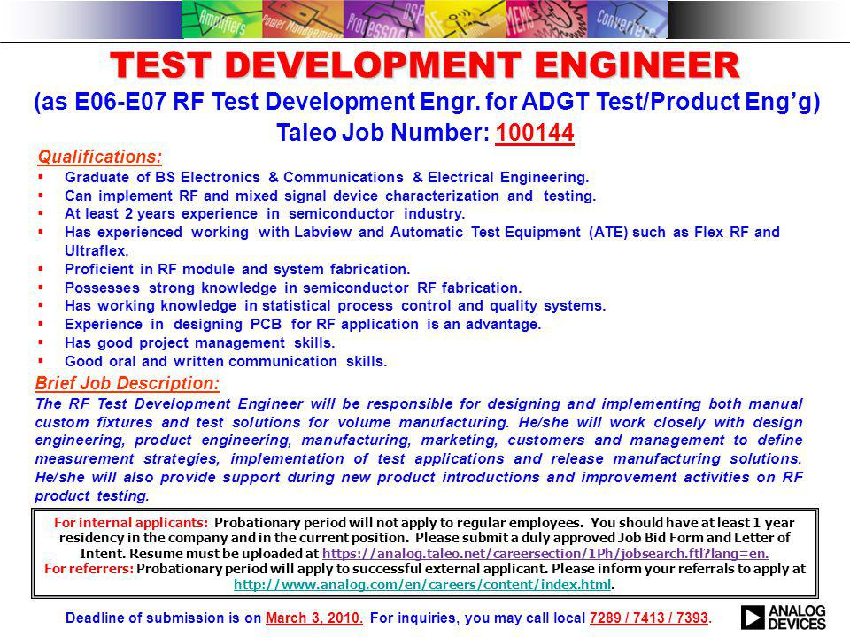 TEST DEVELOPMENT ENGINEER TEST DEVELOPMENT ENGINEER (as E06-E07 RF Test Development Engr.