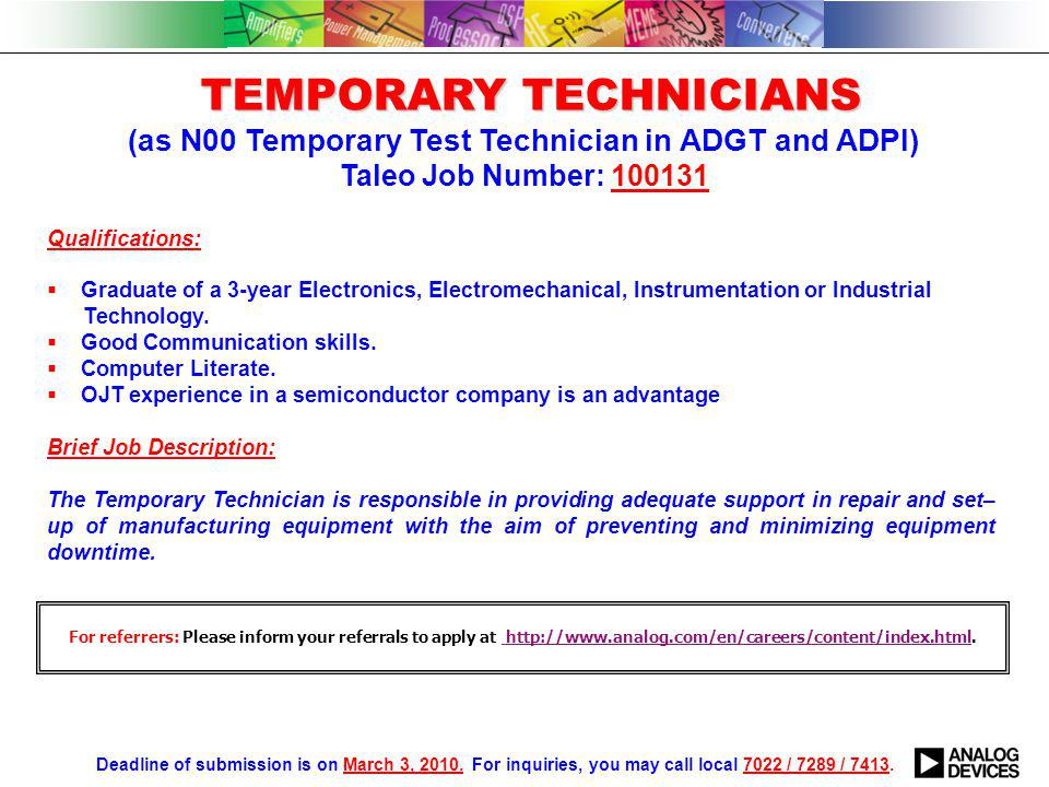 MANUFACTURING TEST ENGINEERS (as E05-E07 Migration Engineer for ADGT Mfg.