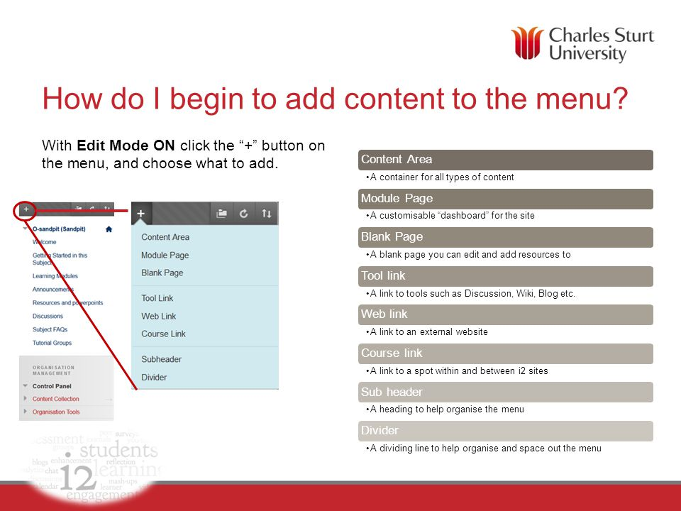 Content area – build content A content area allows course content to be organized into folders, files, graphics, assignments, tests, web links, and other i2 tools.