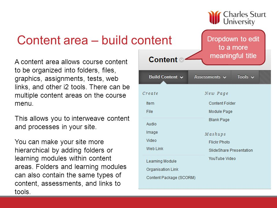 Example 3 Subject Area Storyboard Organising Content In this approach each content area contains lecture notes, discussion forums, assignments, readings and associated resources on a specific subject.