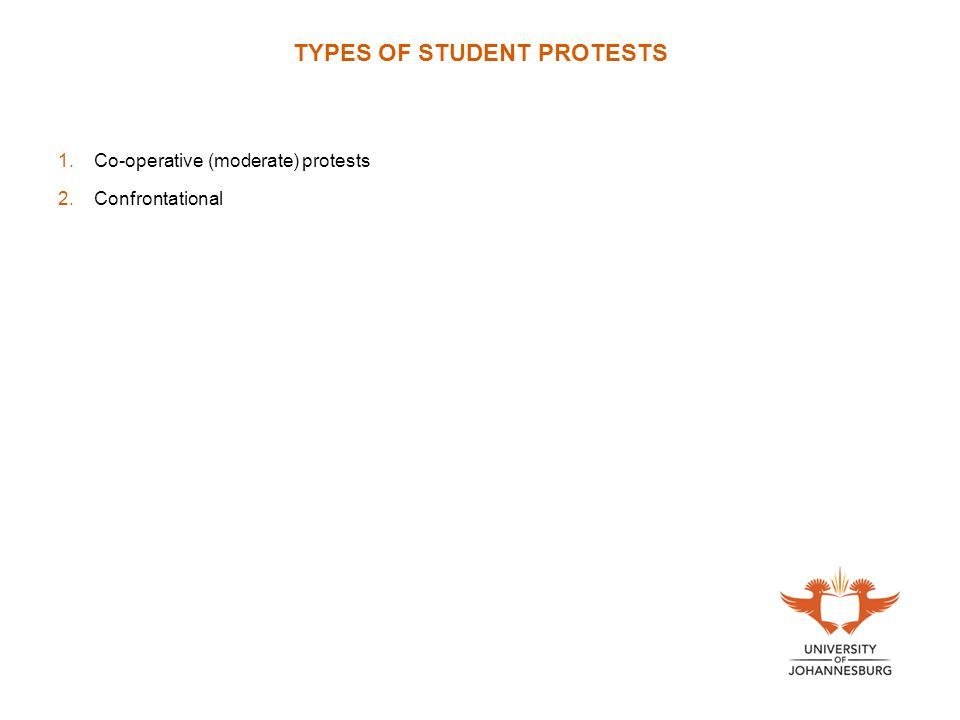 TYPES OF STUDENT PROTESTS 1.Co-operative (moderate) protests 2.Confrontational