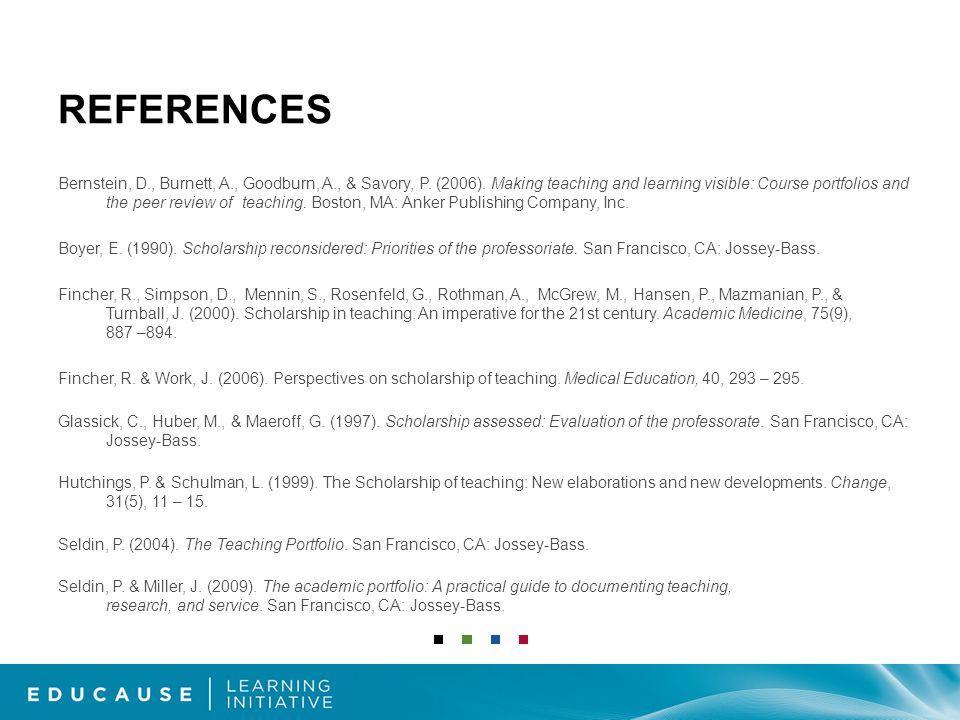 REFERENCES Bernstein, D., Burnett, A., Goodburn, A., & Savory, P.