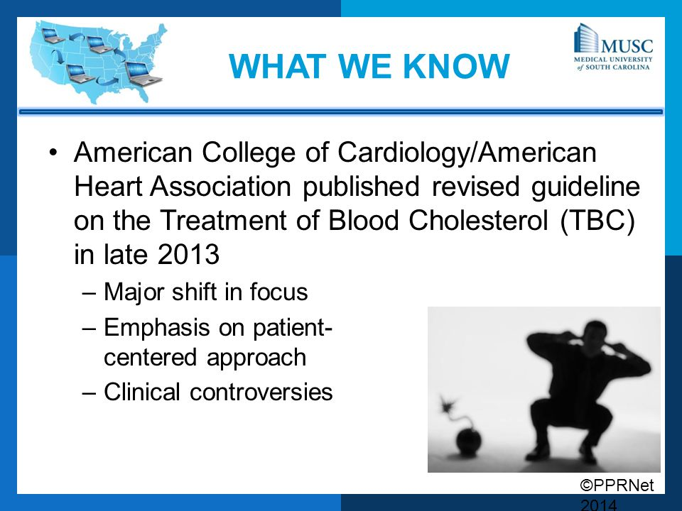 ©PPRNet 2014 WHAT WE KNOW American College of Cardiology/American Heart Association published revised guideline on the Treatment of Blood Cholesterol (TBC) in late 2013 –Major shift in focus –Emphasis on patient- centered approach –Clinical controversies