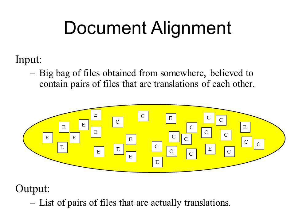 Document Alignment Input: –Big bag of files obtained from somewhere, believed to contain pairs of files that are translations of each other. Output: –
