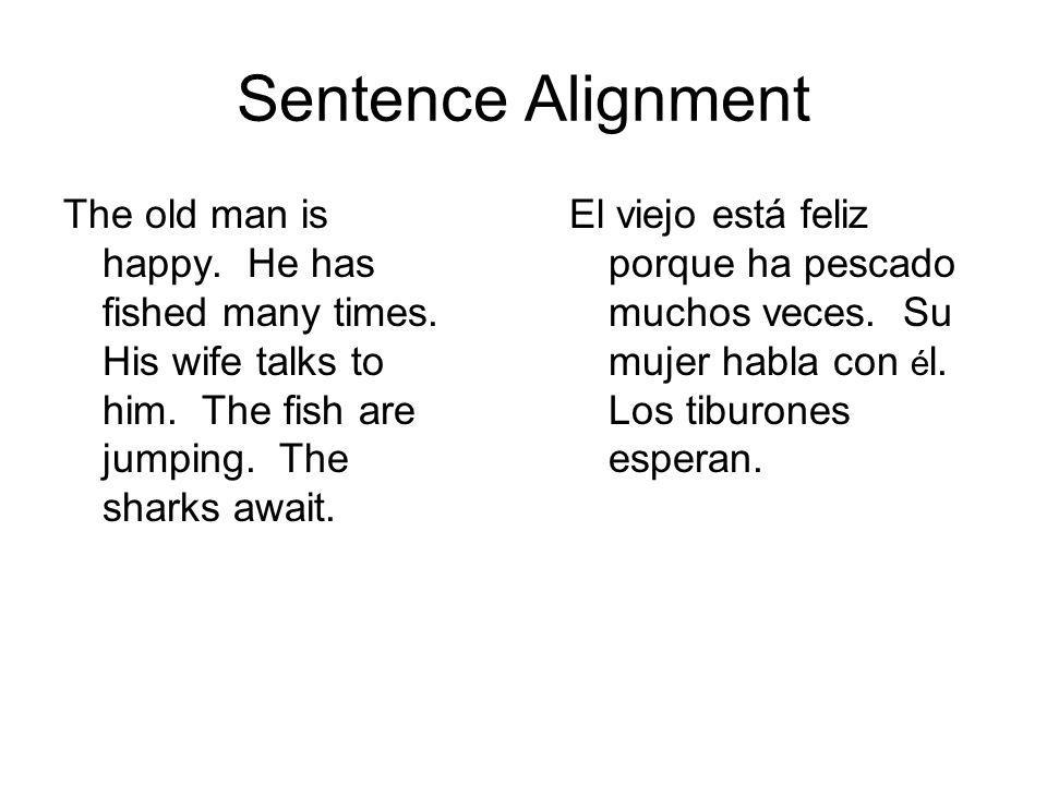 Sentence Alignment The old man is happy. He has fished many times. His wife talks to him. The fish are jumping. The sharks await. El viejo está feliz