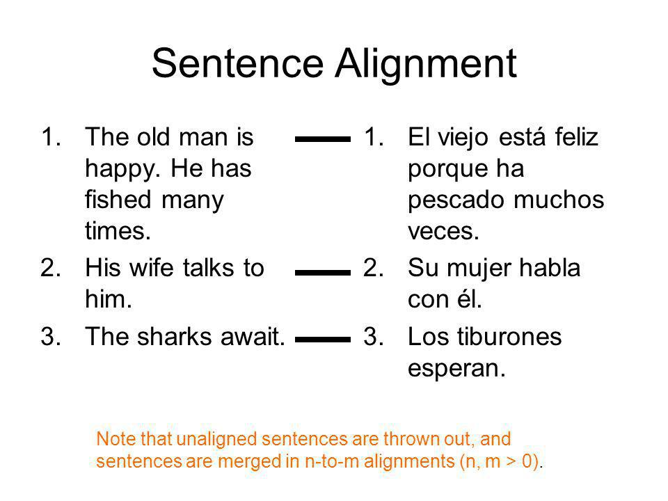 Sentence Alignment 1.The old man is happy. He has fished many times. 2.His wife talks to him. 3.The sharks await. 1.El viejo está feliz porque ha pesc