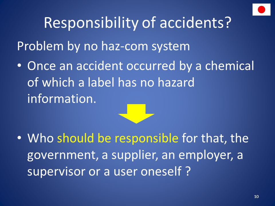 Responsibility of accidents.