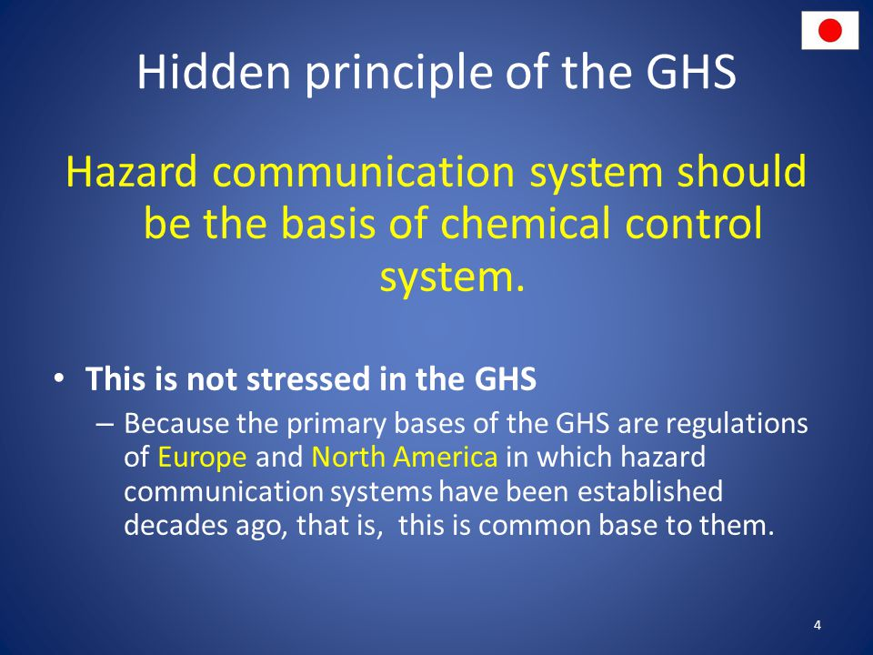 Hidden principle of the GHS Hazard communication system should be the basis of chemical control system.