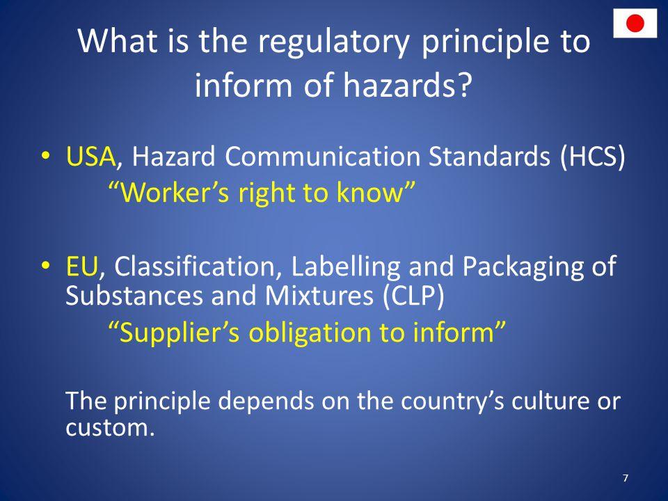 What is the regulatory principle to inform of hazards.