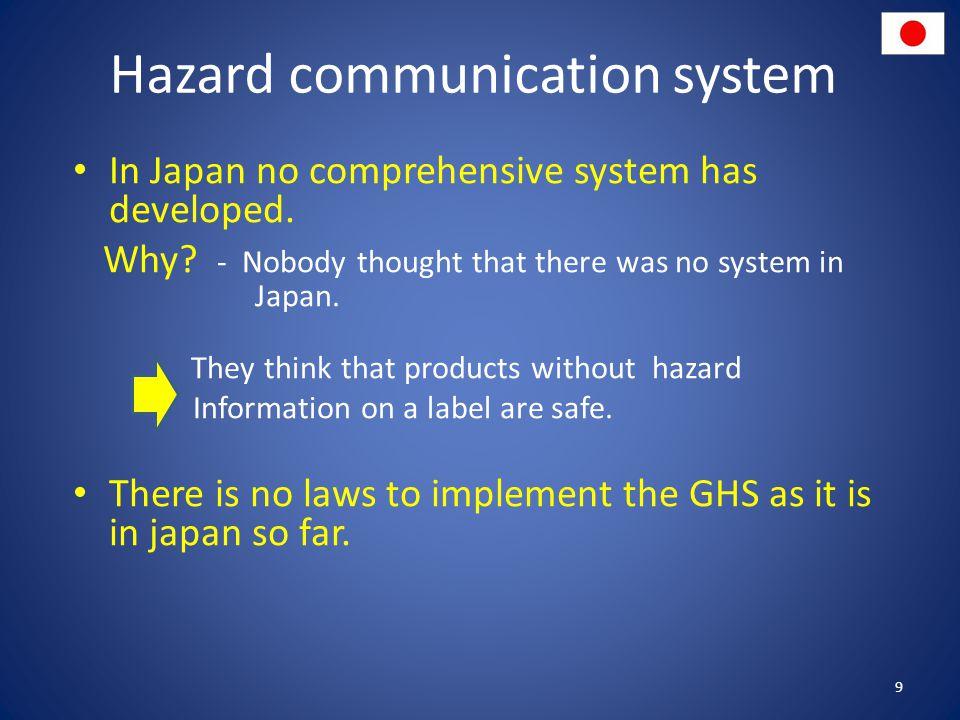 Hazard communication system In Japan no comprehensive system has developed.