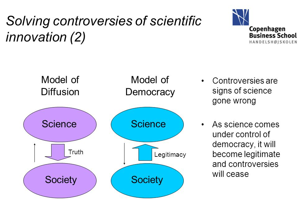 Solving controversies of scientific innovation (2) Controversies are signs of science gone wrong As science comes under control of democracy, it will