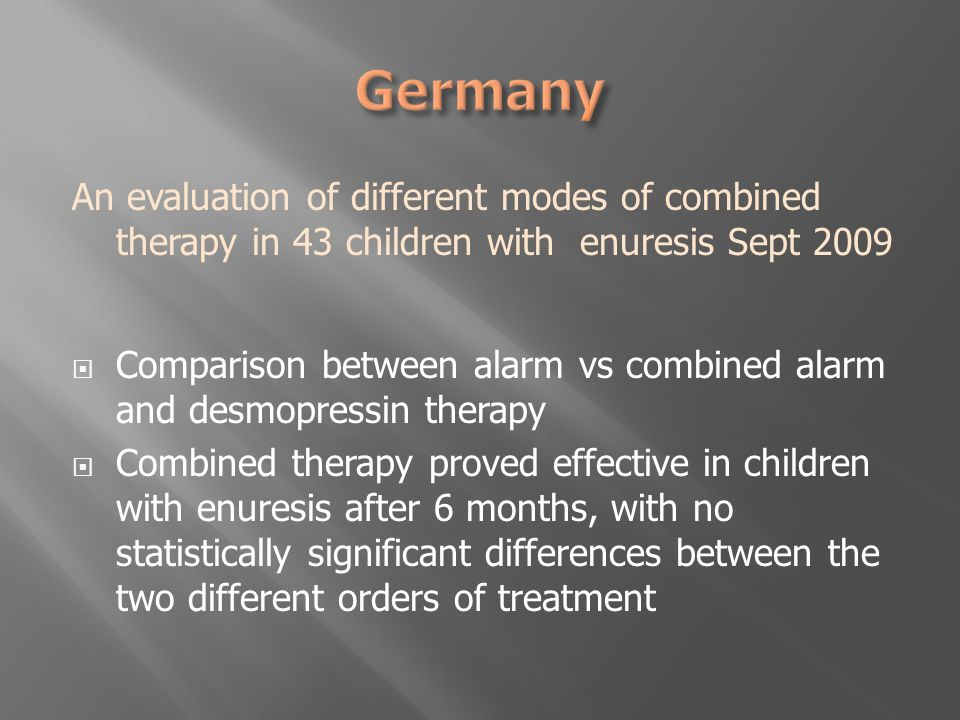 An evaluation of different modes of combined therapy in 43 children with enuresis Sept 2009  Comparison between alarm vs combined alarm and desmopressin therapy  Combined therapy proved effective in children with enuresis after 6 months, with no statistically significant differences between the two different orders of treatment