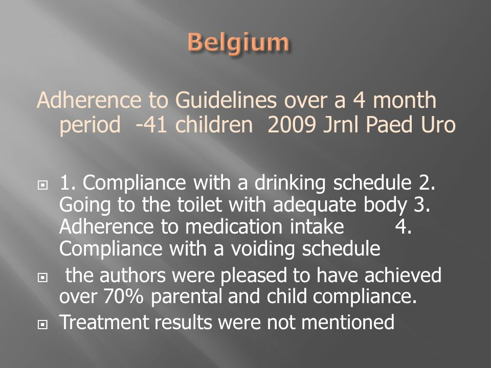 Adherence to Guidelines over a 4 month period -41 children 2009 Jrnl Paed Uro  1.