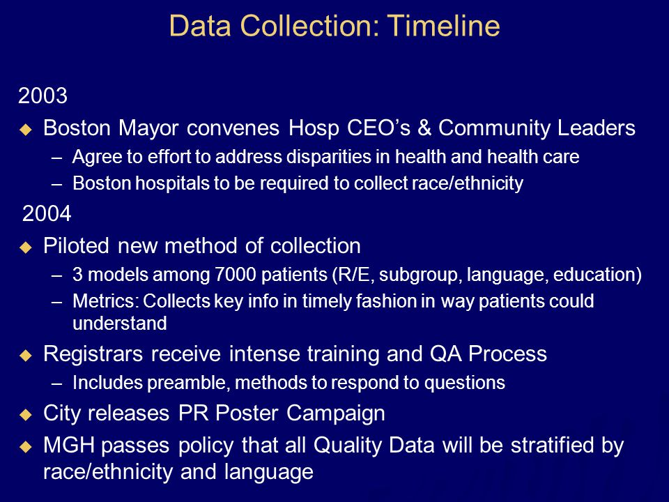 Data Collection: Timeline 2003   Boston Mayor convenes Hosp CEO's & Community Leaders –Agree to effort to address disparities in health and health c