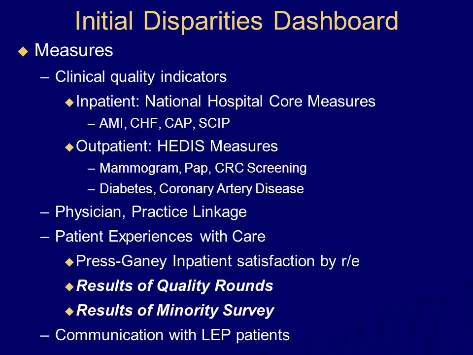 Initial Disparities Dashboard  Measures –Clinical quality indicators  Inpatient: National Hospital Core Measures –AMI, CHF, CAP, SCIP  Outpatient: