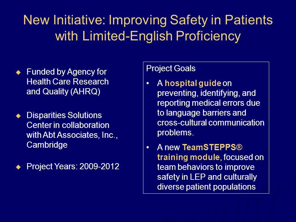 New Initiative: Improving Safety in Patients with Limited-English Proficiency  Funded by Agency for Health Care Research and Quality (AHRQ)  Dispari