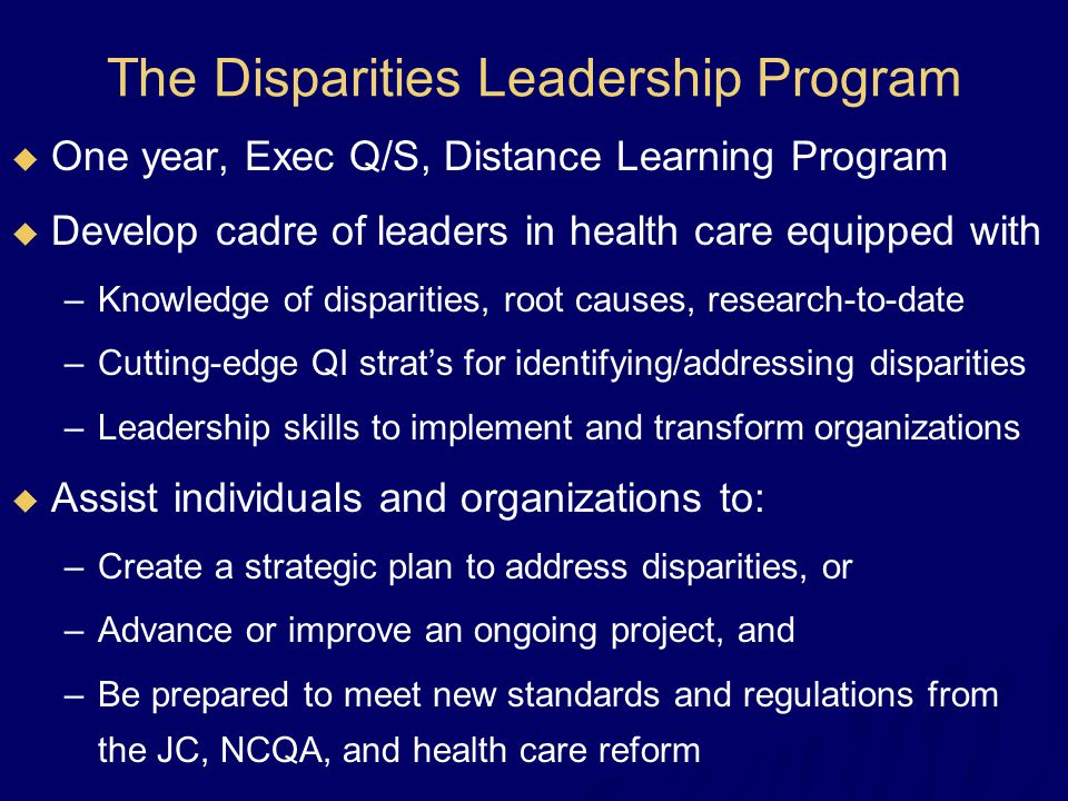 The Disparities Leadership Program  One year, Exec Q/S, Distance Learning Program  Develop cadre of leaders in health care equipped with –Knowledge