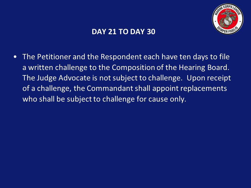 Day 20 If the matter is not settled, the Commandant shall immediately appoint a Hearing Board composed of the Judge Advocate and at least two other members.