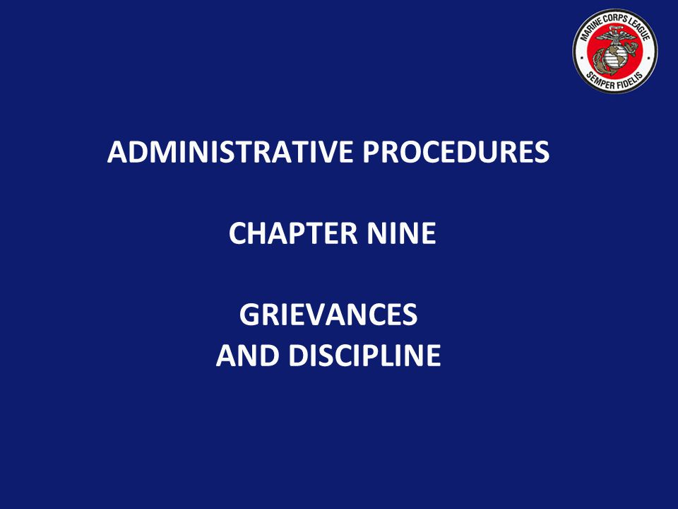 Marine Corps League Professional Development Grievances & Discipline