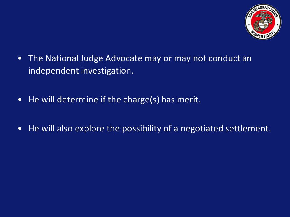 In the event the Respondent is a Department Commandant or a Department, the following procedure is in place.