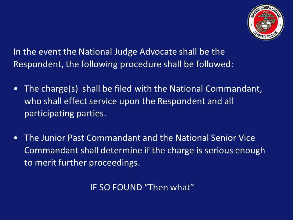 SECTION 908 NATIONAL JUDGE ADVCATE