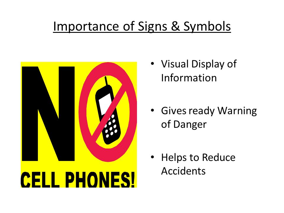 Importance of Signs & Symbols Visual Display of Information Gives ready Warning of Danger Helps to Reduce Accidents