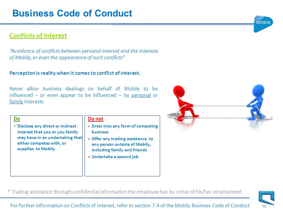 Business Code of Conduct 14 Conflicts of Interest Avoidance of conflicts between personal interest and the interests of Mobily, or even the appearance of such conflicts Perception is reality when it comes to conflict of interest.