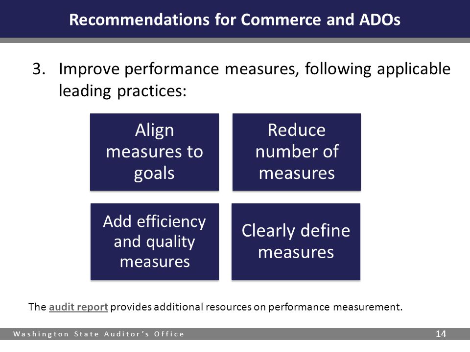 Washington State Auditor's Office 14 The audit report provides additional resources on performance measurement.audit report Recommendations for Commer