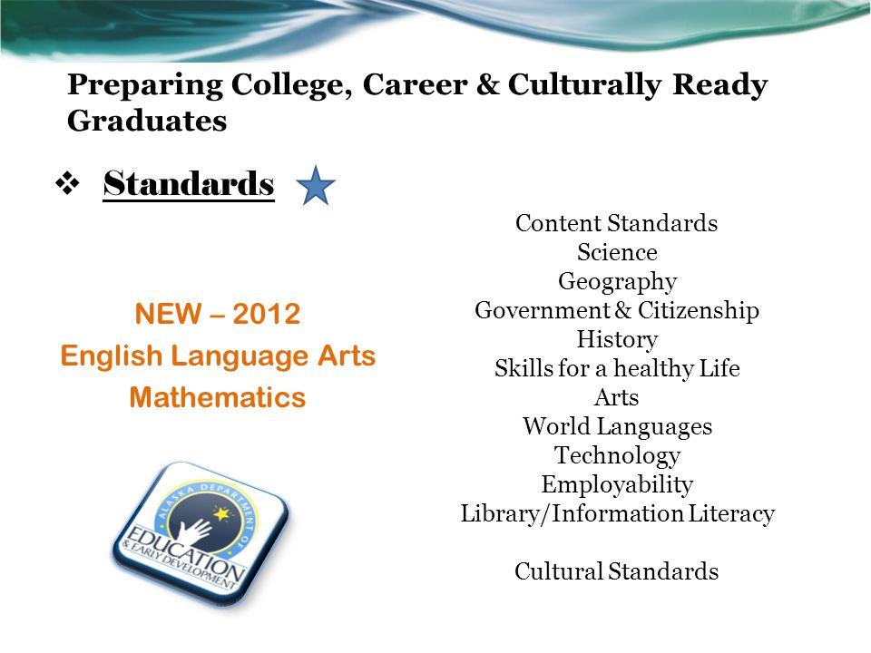  Standards NEW – 2012 English Language Arts Mathematics Content Standards Science Geography Government & Citizenship History Skills for a healthy Life Arts World Languages Technology Employability Library/Information Literacy Cultural Standards
