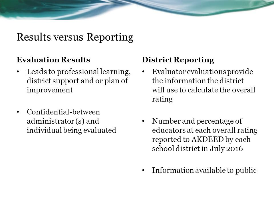Results versus Reporting Evaluation Results Leads to professional learning, district support and or plan of improvement Confidential-between administrator (s) and individual being evaluated District Reporting Evaluator evaluations provide the information the district will use to calculate the overall rating Number and percentage of educators at each overall rating reported to AKDEED by each school district in July 2016 Information available to public