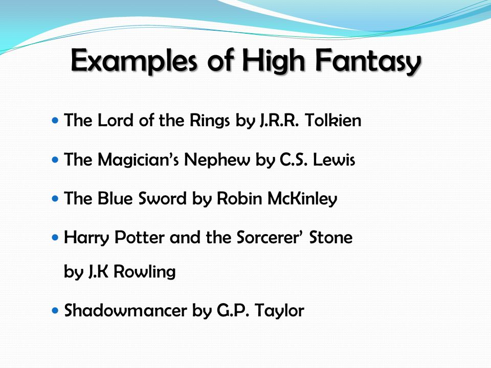 Examples of High Fantasy The Lord of the Rings by J.R.R.